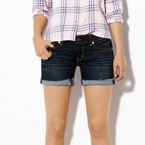 American Eagle dark wash midi shorts